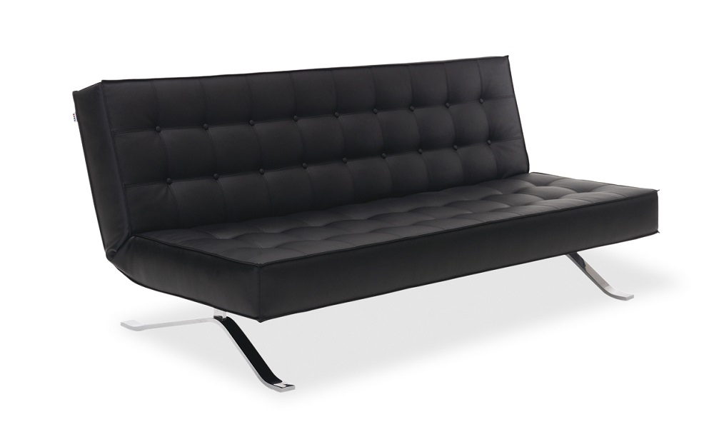 Convertible And Sleeper Sofabeds Stylish Accessories Tufted Black Leather Contemporary Style Sofa