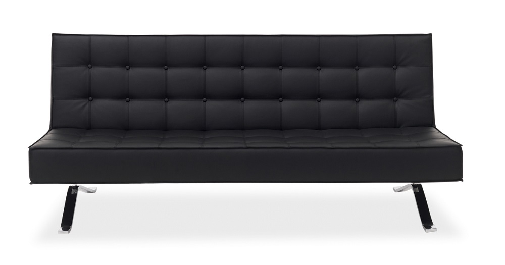 Tufted Black Leather Contemporary Style Sofa Bed with Chrome Legs ...