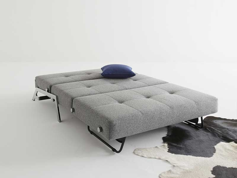 Light Grey Fabric Upholstered Contemporary Convertible Sofa Bed - Click Image to Close