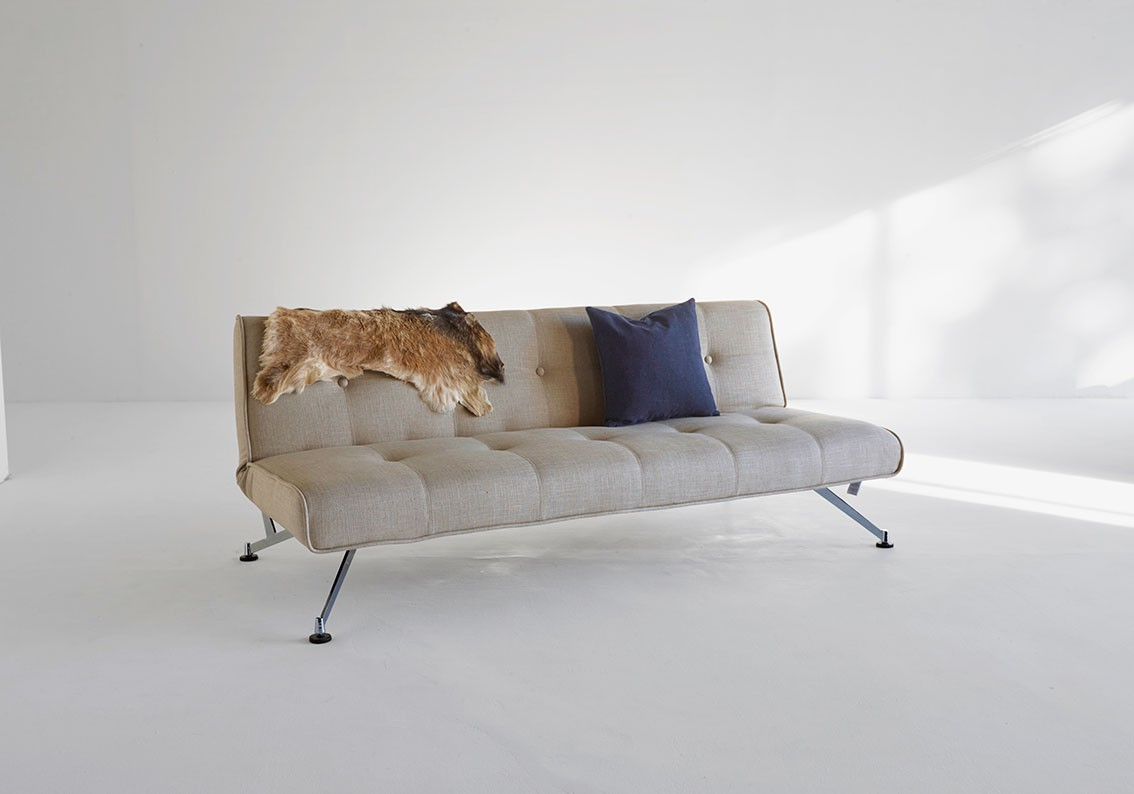 Khaki Sofa Bed Convertible With Chrome Legs Fort Wayne