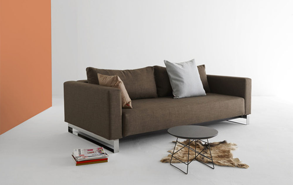 Begum Olive Upholstered Sofa Bed With Durable Chrome Legs