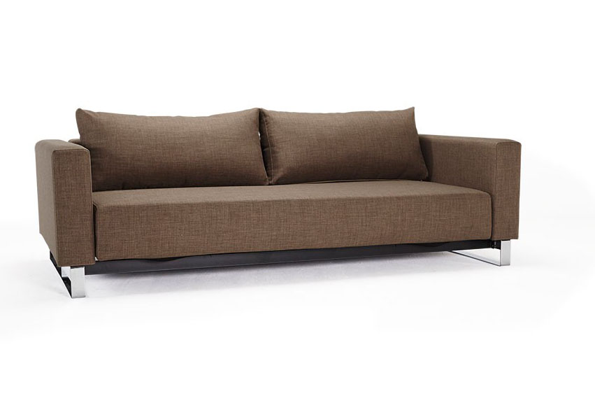 Begum Olive Upholstered Sofa Bed with Durable Chrome Legs - Click Image to Close