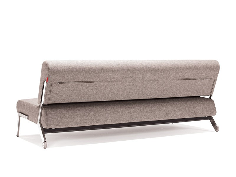 Contemporary Light Fabric Contemporary Sofa Bed with Chrome Legs - Click Image to Close