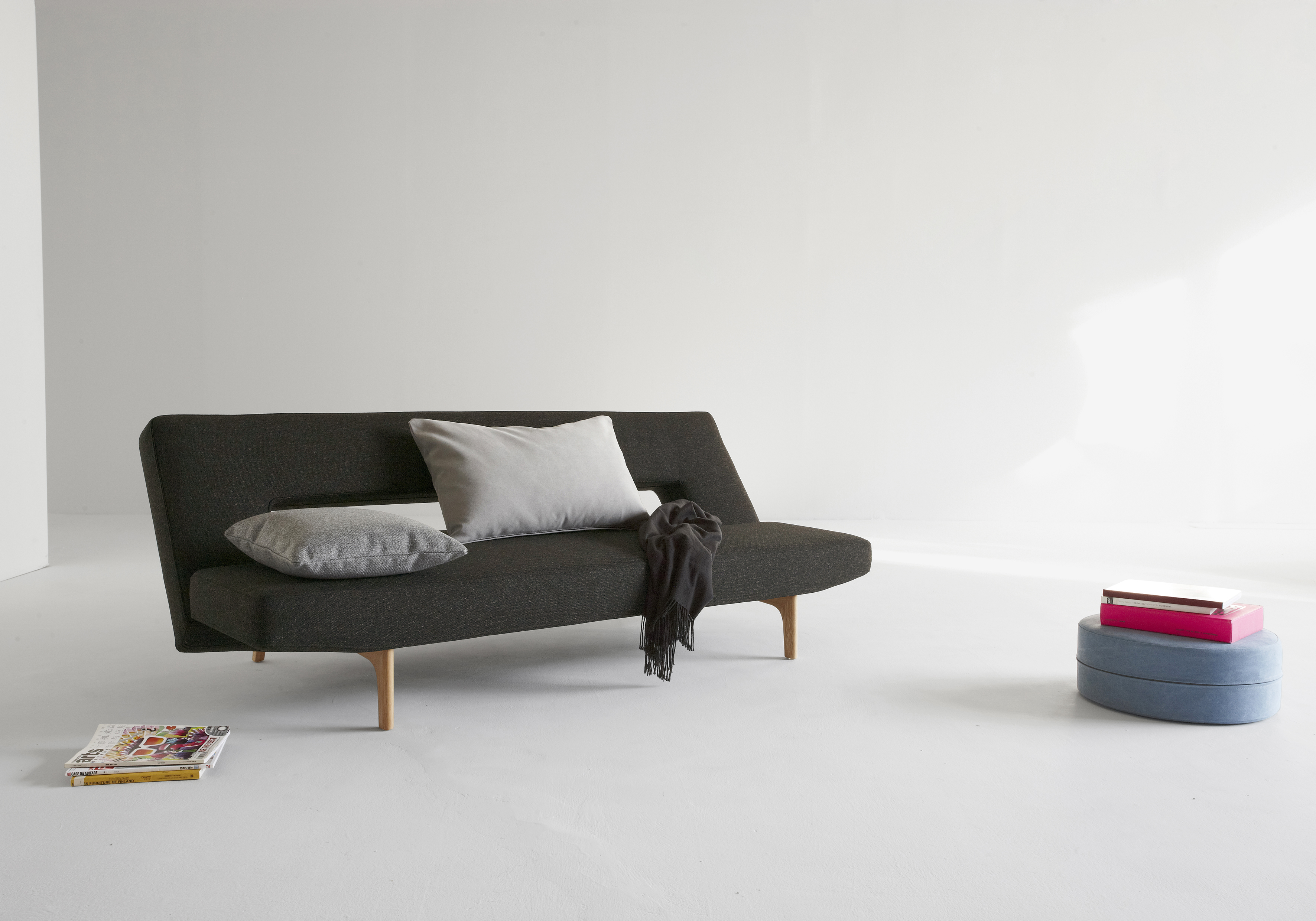 Contemporary Dark Brown Or Grey Fabric Sofa Bed With Wood