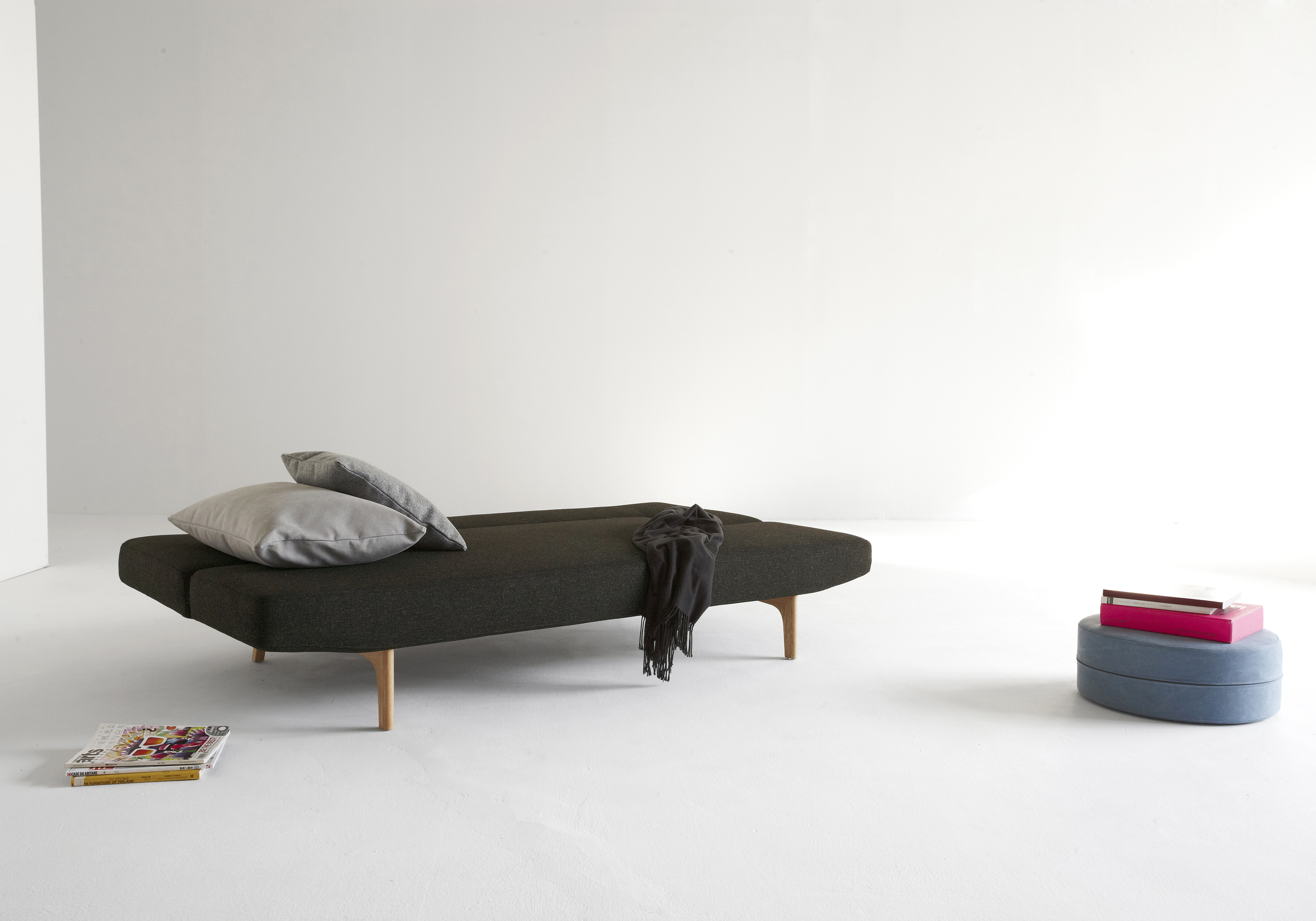 Contemporary Dark Brown or Grey Fabric Sofa Bed with Wood Legs - Click Image to Close