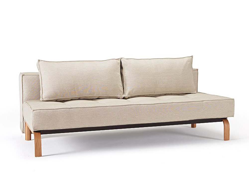 Stylish Fabric Upholstered Deluxe Sofa Bed With Oak Legs