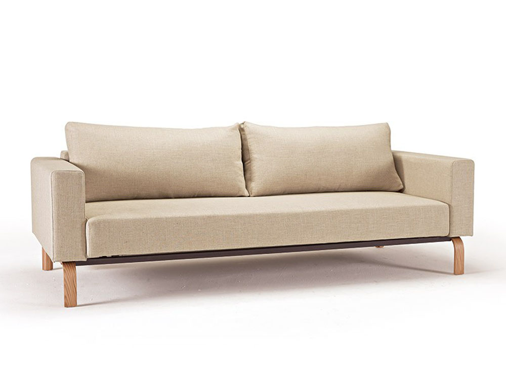 Natural Khaki Fabric Sofa Bed With Durable Oak Legs Newark New Jersey Inncassoak