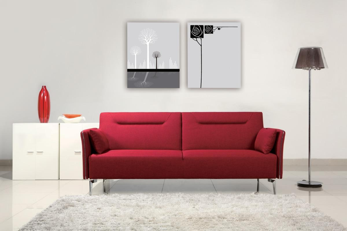 Superb Contemporary Red Fabric Single Convertible Sofa Bed