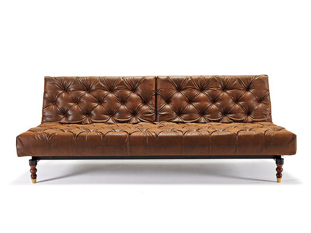 Retro traditional style tufted sofa bed in vintage brown for Tufted leather sleeper sofa
