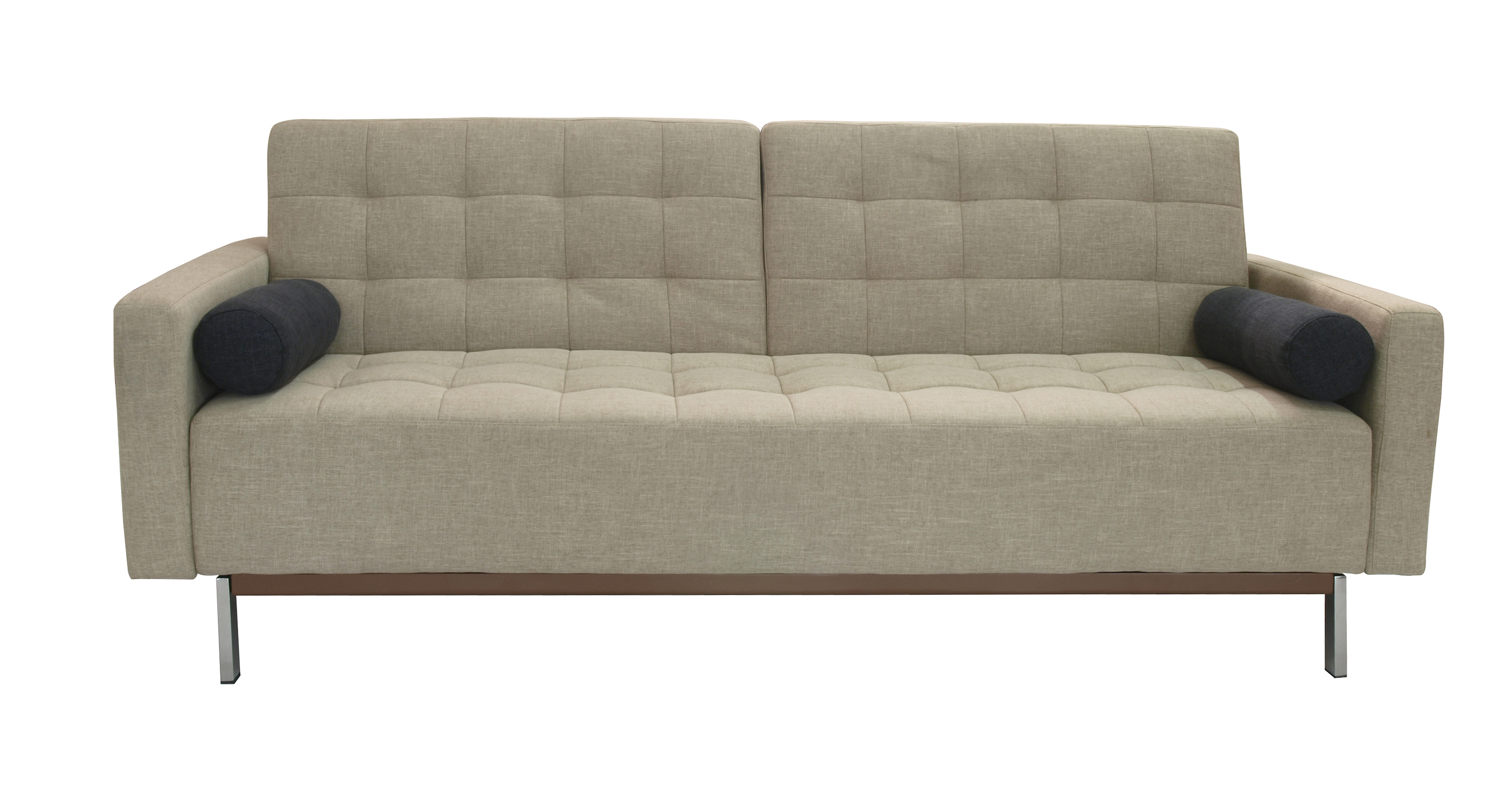 Beige or grey contemporary tufted fabric sofa bed santa for Contemporary sleeper sofa beds