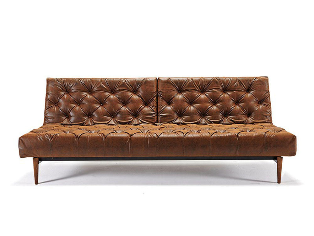 Traditional style tufted sofa bed in vintage black brown for Traditional sofa