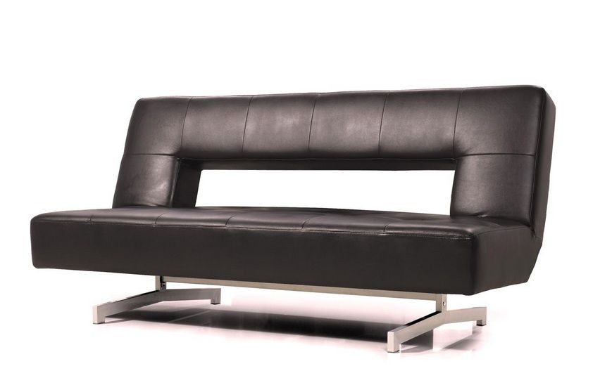 Fold-Out Espresso Leatherette Sofa Bed