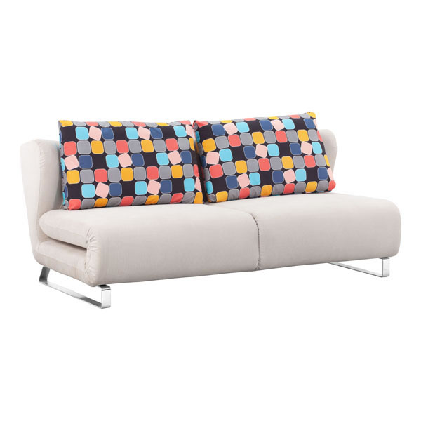 Fabric Contemporary Sofa Bed with Chrome Legs and Pillows