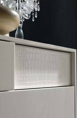 White Crocodile Leather Bedroom Furniture
