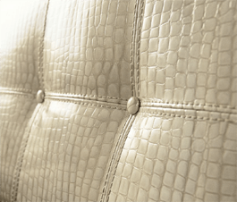 Padded Italian Leather Headboard in Crocodile
