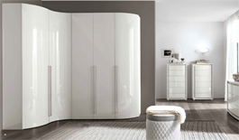 White High Gloss Modular Curved Wardrobe