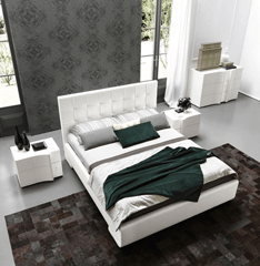 Prestige Luxury Leather Bed in White