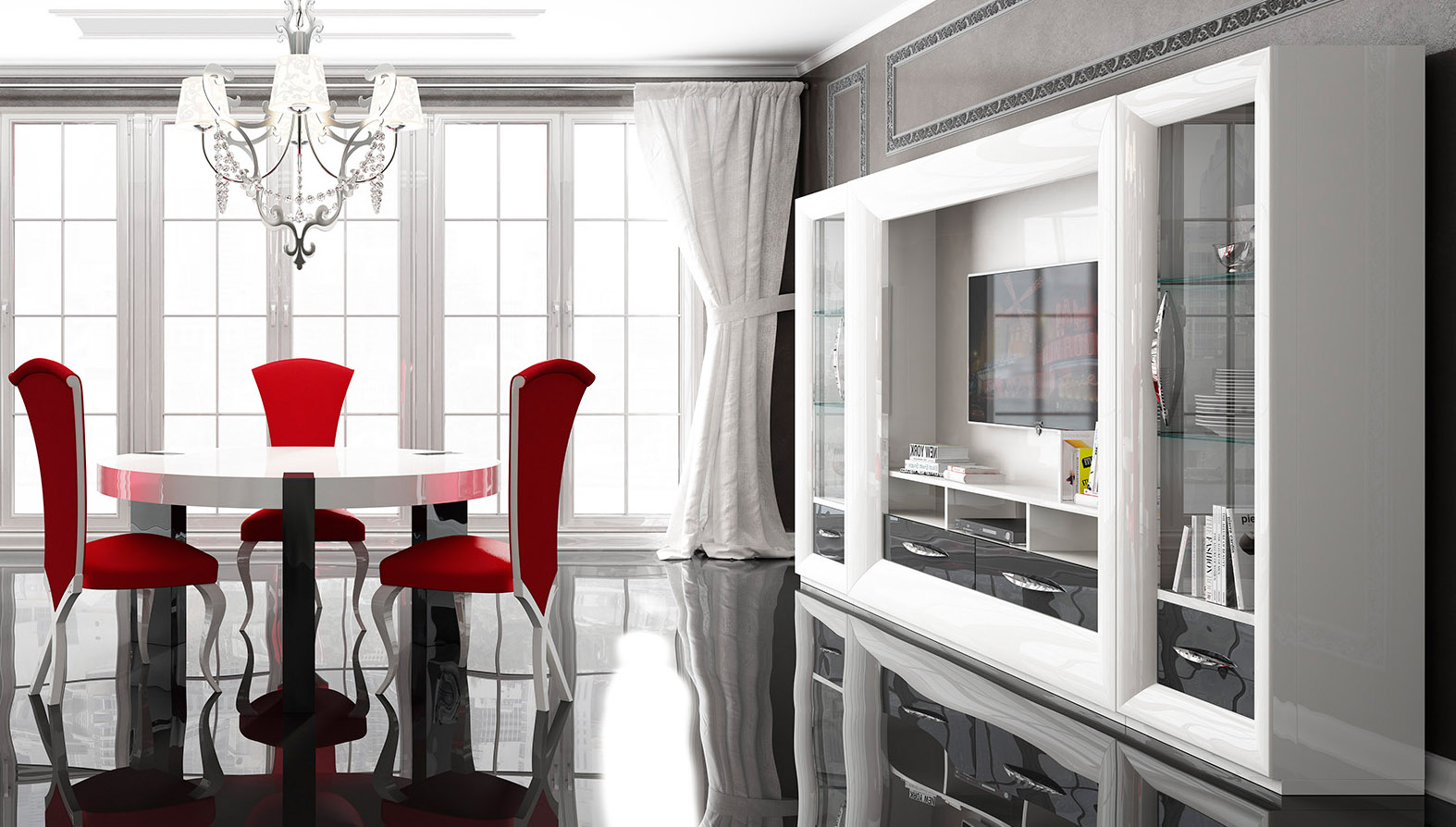 Modern High Gloss White And Gray Wall Unit Prime Classic