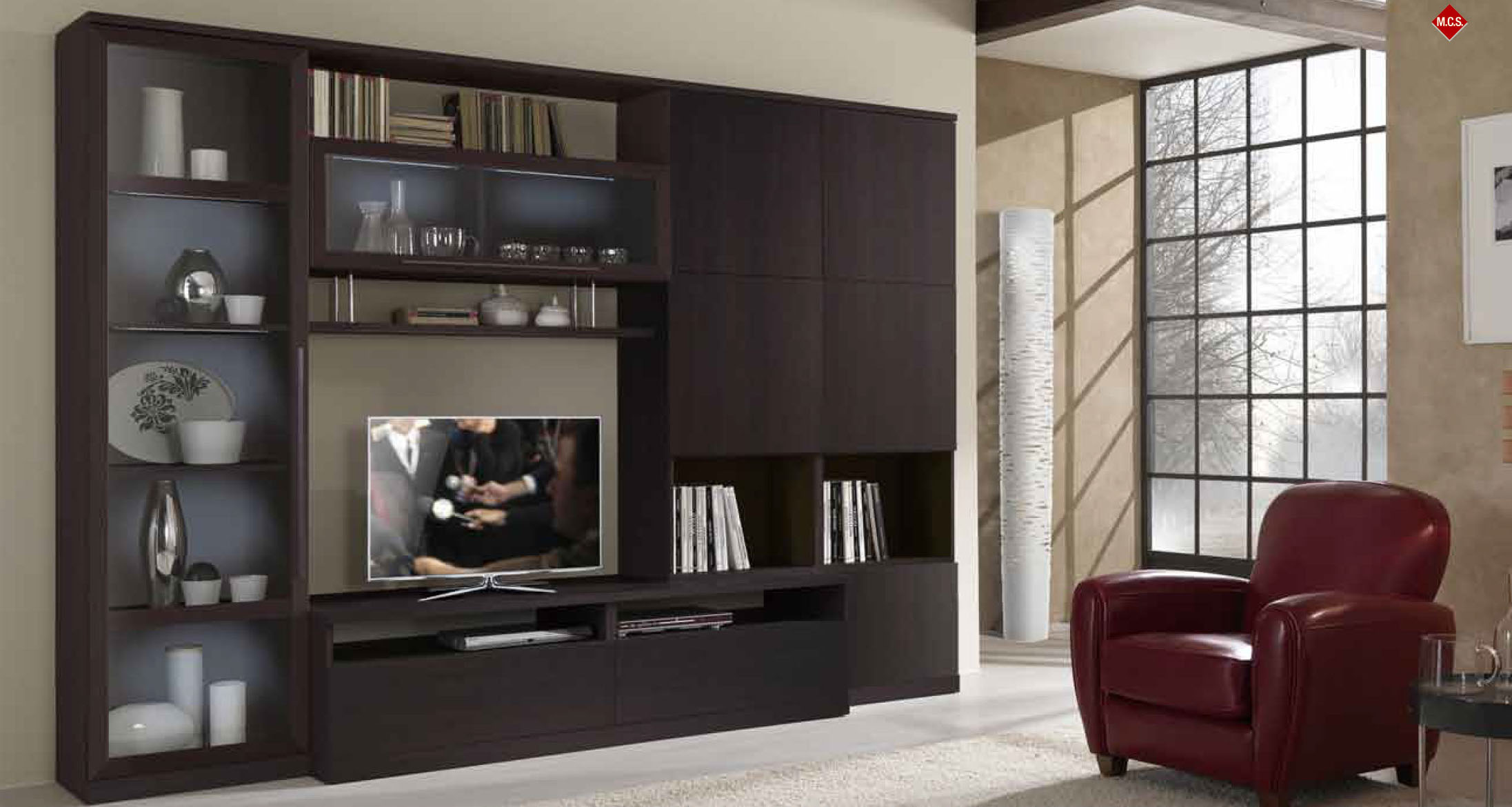 italian made contemporary huge wall entertainment unit in wenge