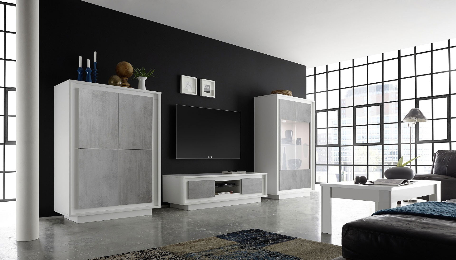 Wall Unit With Shelves In Matte White Finish From Italy Los  # Meuble Tv California
