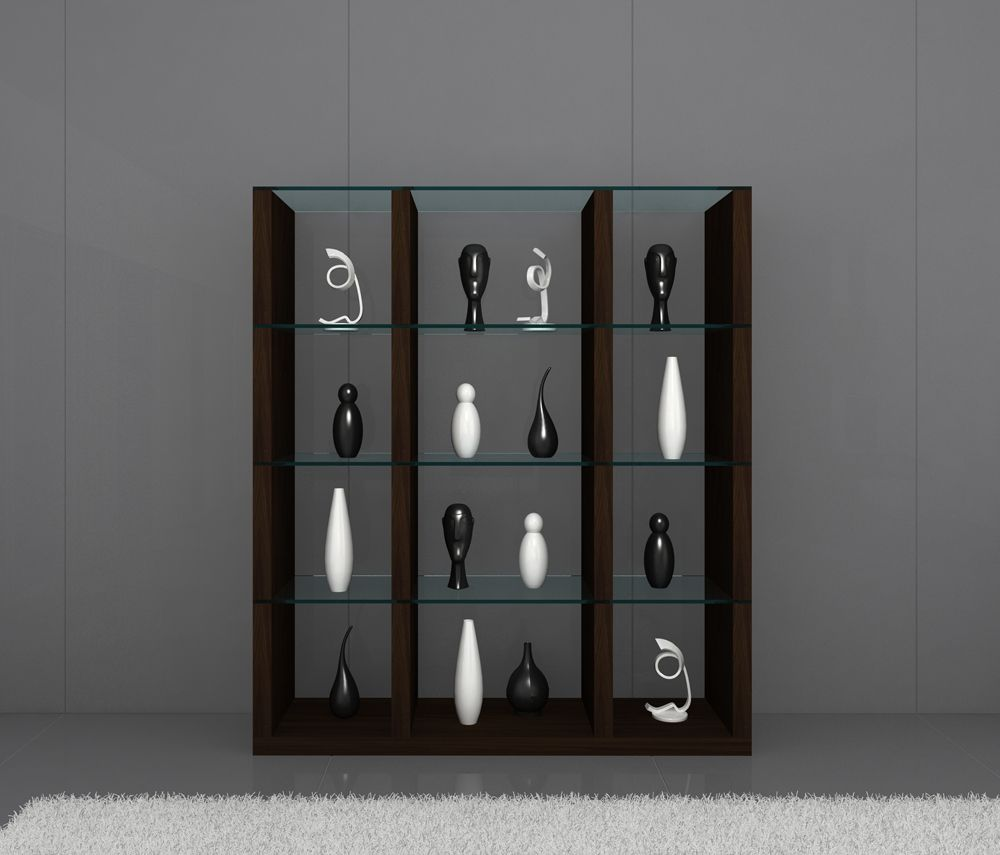 Float contemporary wall unit in timber chocolate with for Modern living room shelving units