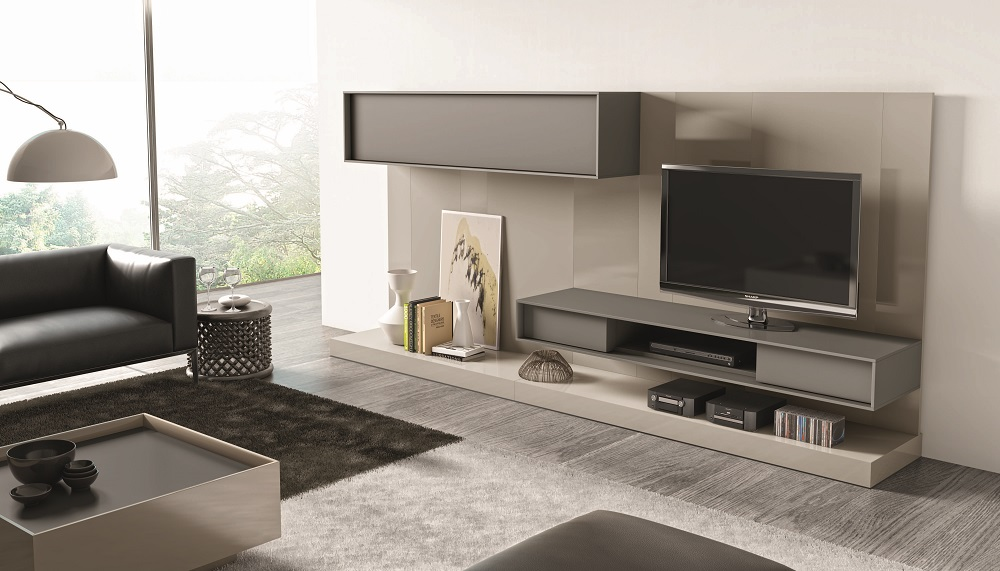 Contemporary Wall Unit With Textured Wood Veneers And