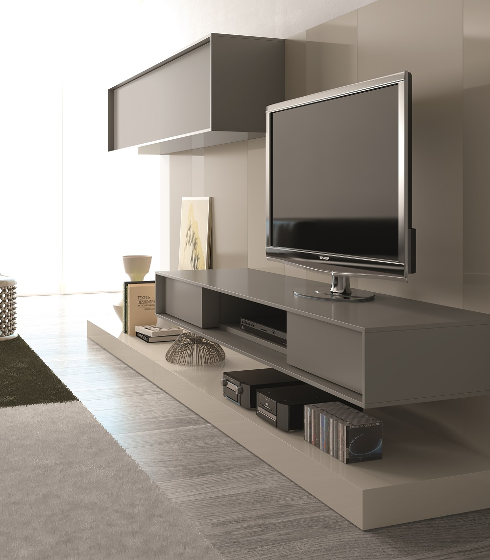 Contemporary wall unit with textured wood veneers and for Long kitchen wall units