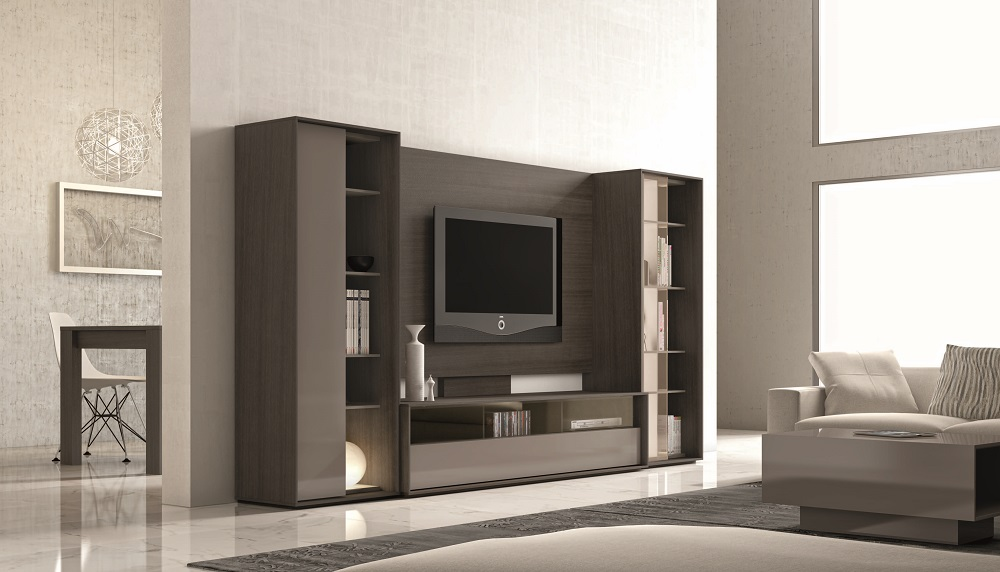 Media and Wall Units Stylish Accessories & Ultra Contemporary Lacquered Wall Unit with Display Shelves and ...