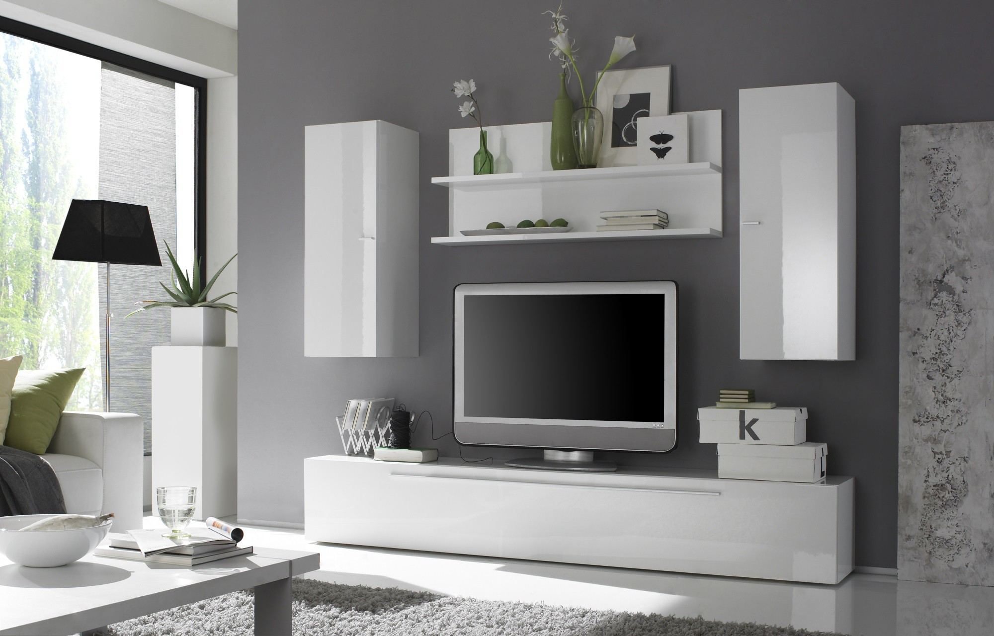Contemporary Entertainment Center with Hanging Units
