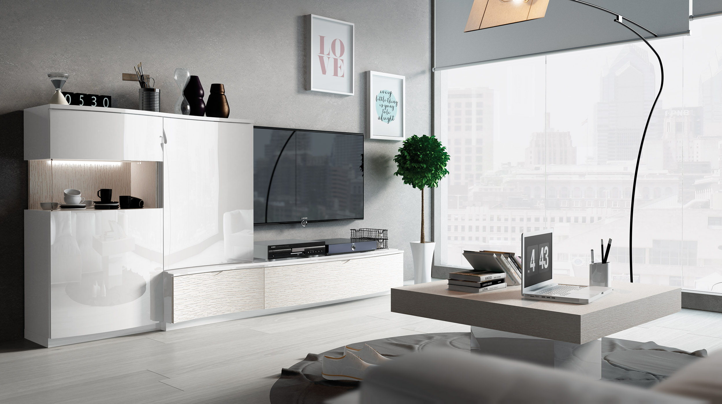 Contemporary Entertainment Wall Unit in White San