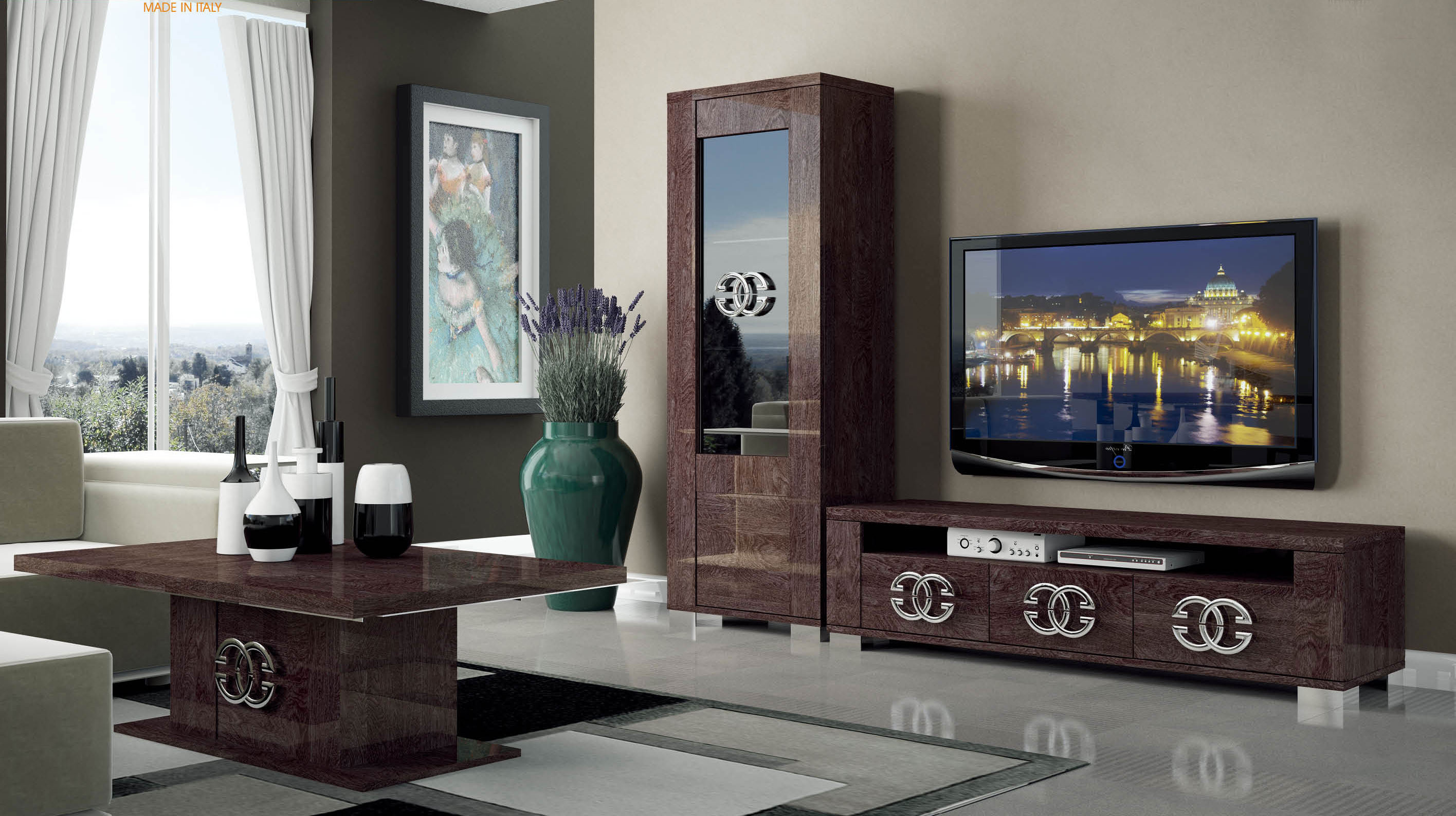 Walnut brown tv stand with side vitrine shelves hialeah for Table tv design