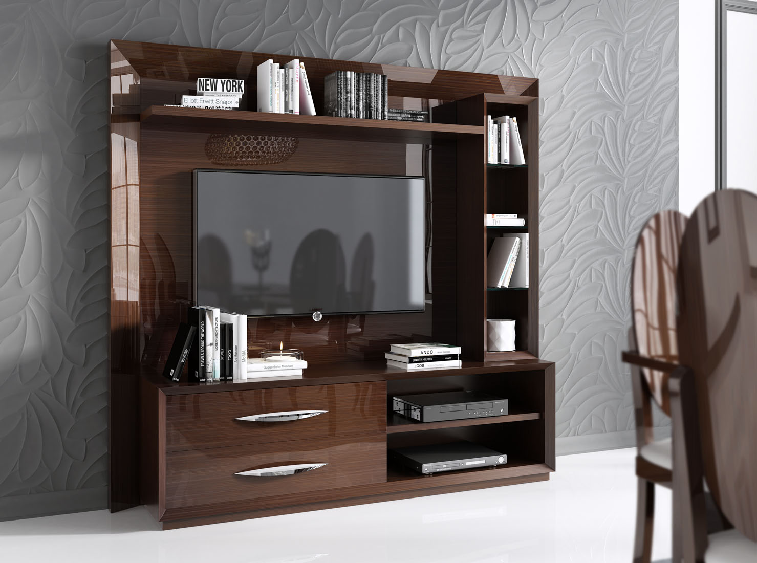 Made in spain walnut protective gloss lacquer wall unit Wall unit furniture
