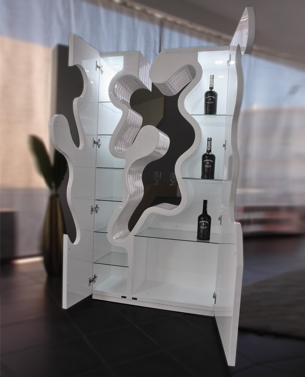 Contemporary Bar Wall Unit In White And LED Light Baltimore Maryland  Ju0026M EMPTY