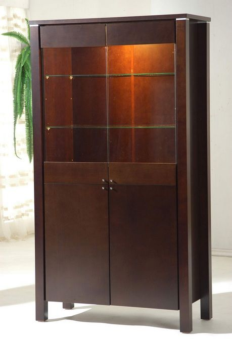 Wooden Display Unit With Glass Doors And Shelves Prime