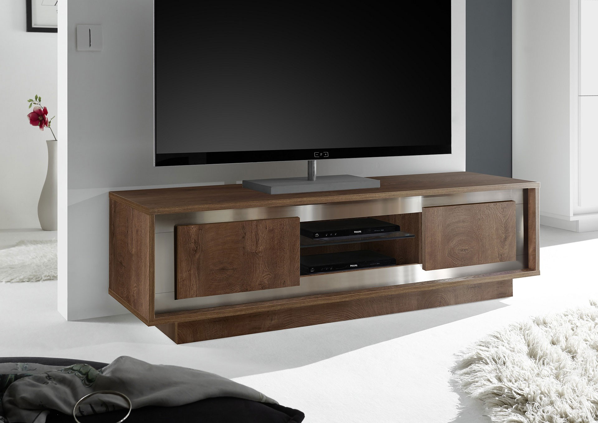 Contemporary Cognac Oak Finish Entertainment Unit From Italy  # Meuble Tv Miami