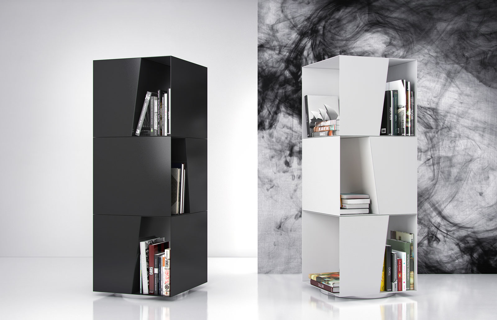 White or Black Rotating Bookcase