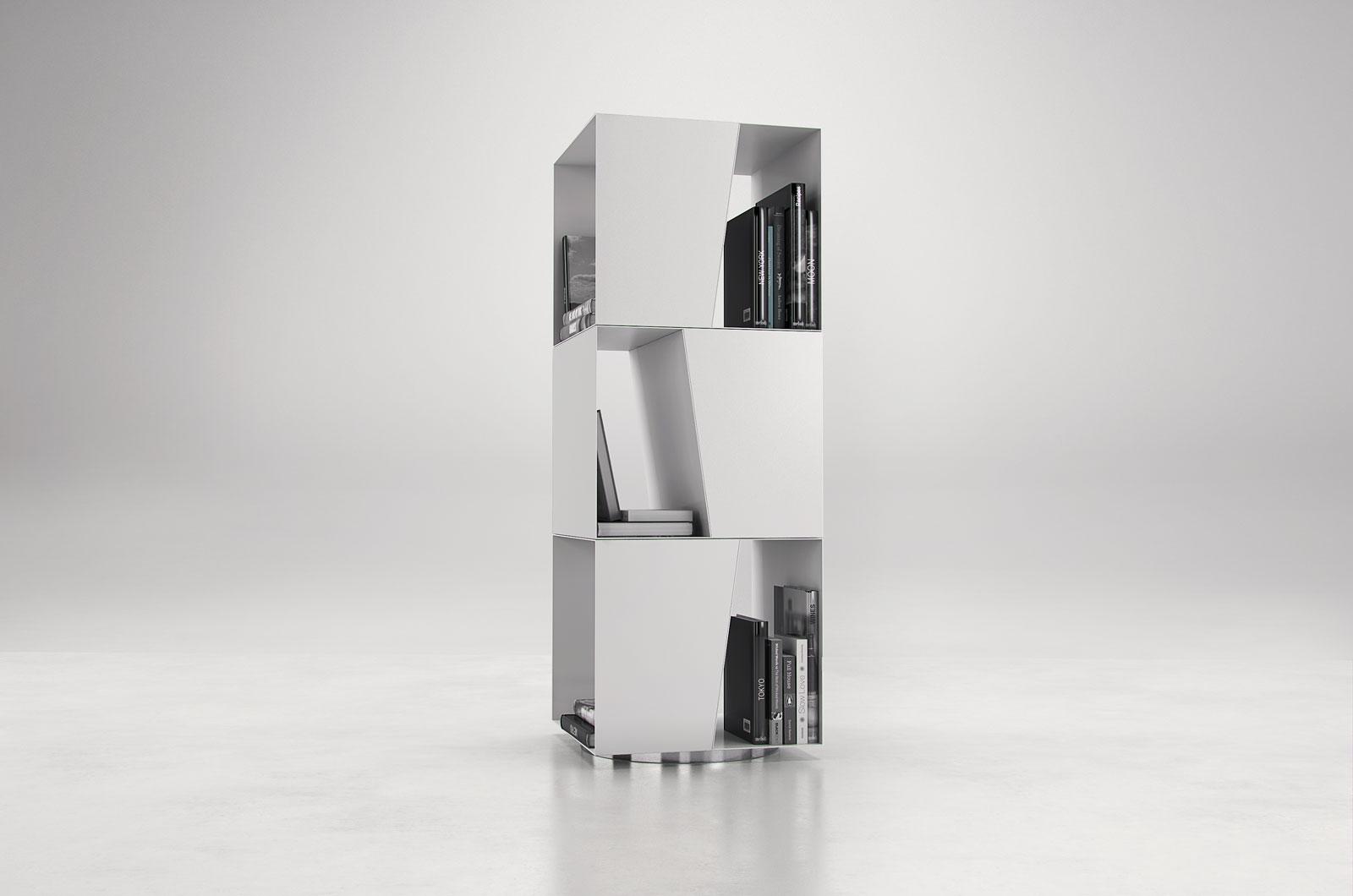 White Or Black Rotating Bookcase New York New York Mlbon