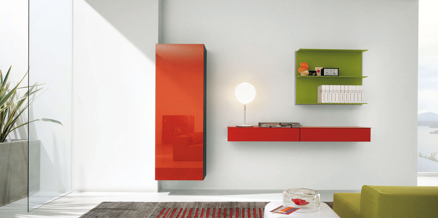 Red Lacquered Italian Entertainment Center with Green