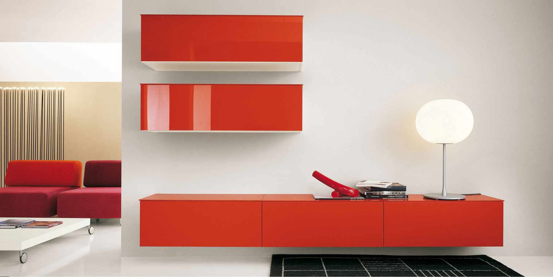 Red Lacquered Italian Contemporary Entertainment Center