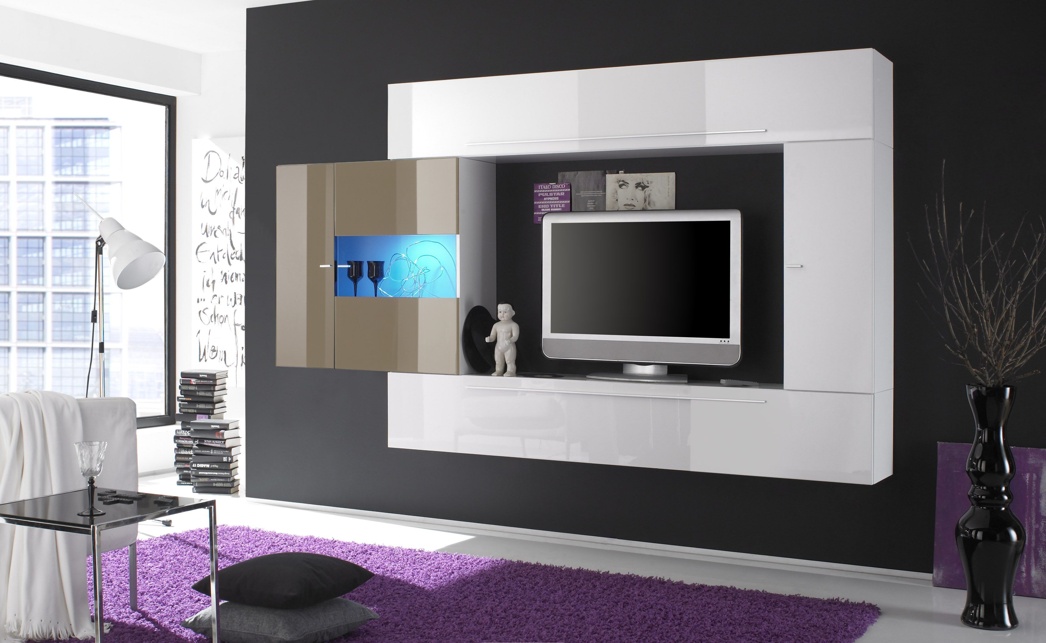 White lacquered contemporary wall unit with dark outer for Wohnzimmer tv wand